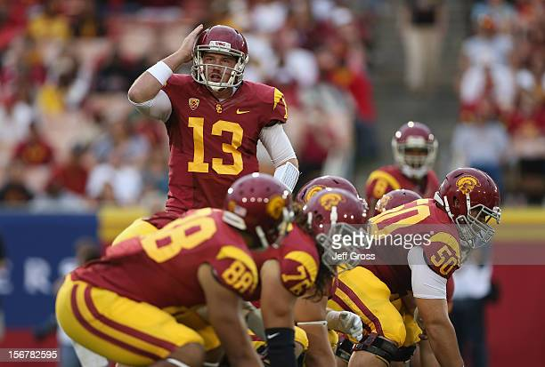 Quarterback Max Wittek of the USC Trojans calls out a play against the Colorado Buffaloes at Los Angeles Memorial Coliseum on October 20 2012 in Los...