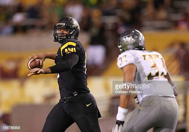 Quarterback Michael Eubank of the Arizona State Sun Devils in action during the college football game against the Oregon Ducks at Sun Devil Stadium...
