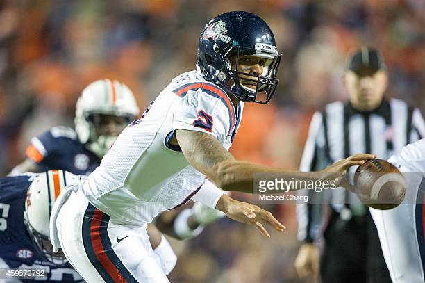 Quarterback Michael Eubank of the Samford Bulldogs tosses the ball during their game against the Auburn Tigers on November 22 2014 at JordanHare...