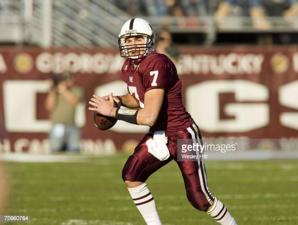 Quarterback Michael Henig of the Mississippi State Bulldogs looks downfield to throw a pass against the Arkansas Razorbacks at Davis Wade Stadium on...