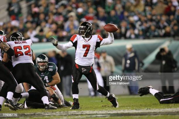 Quarterback Michael Vick of the Atlanta Falcons throws a pass during the game against the Philadelphia Eagles on December 31, 2006 at Lincoln...