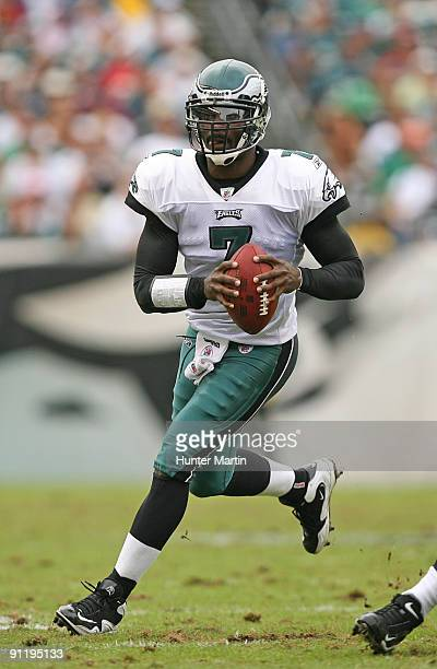 Quarterback Michael Vick of the Philadelphia Eagles rolls out of the pocket during a game against the Kansas City Chiefs on September 27 2009 at...