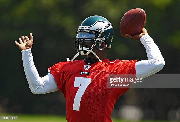 Quarterback Michael Vick of the Philadelphia Eagles throws a pass during training camp on August 15 2009 at the NovaCare Complex in Philadelphia...