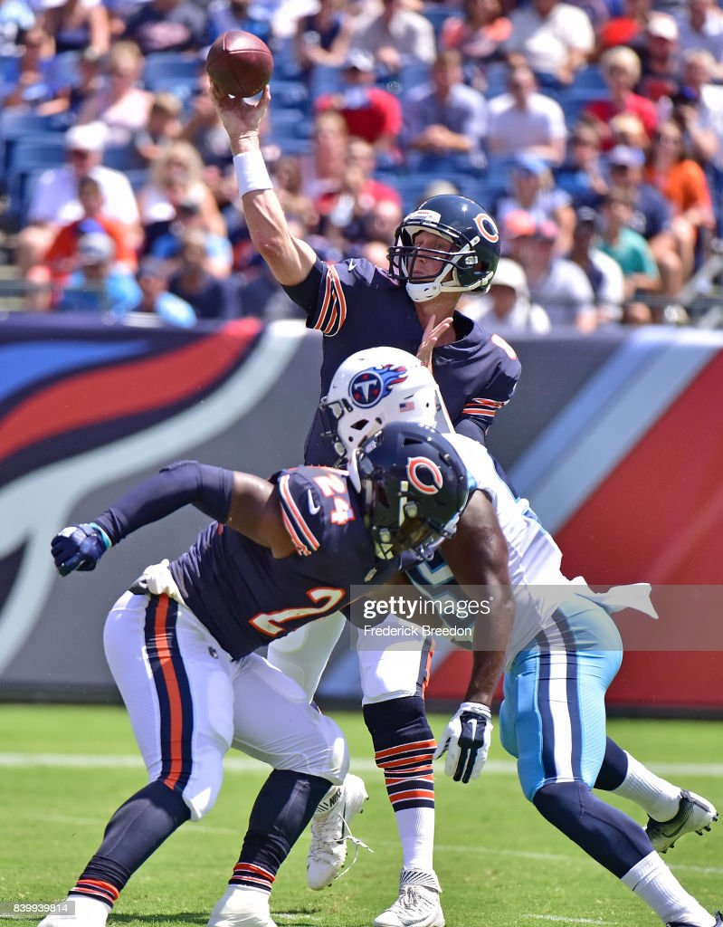 Quarterback Mike Glennon #8 of the Chicago Bears drops back to throw a pass against the Tennessee Titans during the first half at Nissan Stadium on August 27, 2017 in Nashville, Tennessee.
