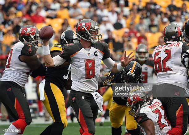 Quarterback Mike Glennon of the Tampa Bay Buccaneers passes as he is pressured by linebacker Sean Spence of the Pittsburgh Steelers at Heinz Field on...