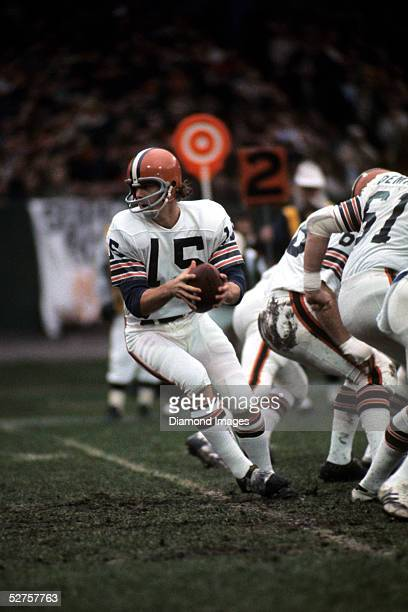 Quarterback Mike Phipps of the Cleveland Browns turns to hand the ball off during a game on November 25 1973 against the Pittsburgh Steelers at...
