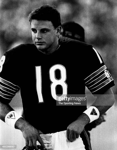 Quarterback Mike Tomczak of the Chicago Bears during an NFL game circa 1989 at Soldier Field in Chicago Illinois Tomczak played for the Bears from...