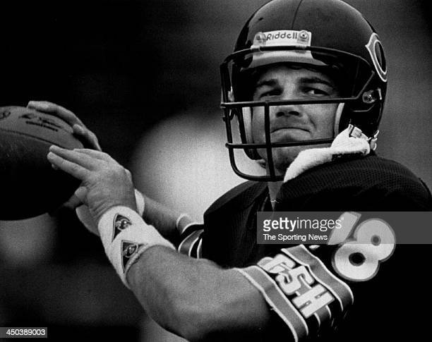 Quarterback Mike Tomczak of the Chicago Bears during an NFL game circa 1990 at Soldier Field in Chicago Illinois Tomczak played for the Bears from...