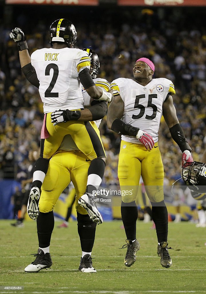 Quarterback Mike Vick #2 of the Pittsburgh Steelers celebrates after a game-winning touchdown against the San Diego Chargers at Qualcomm Stadium on October 12, 2015 in San Diego, California.
