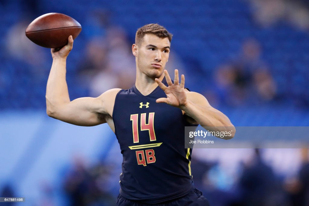 Quarterback Mitch Trubisky of North Carolina throws during a passing drill on day four of the NFL Combine at Lucas Oil Stadium on March 4, 2017 in Indianapolis, Indiana.