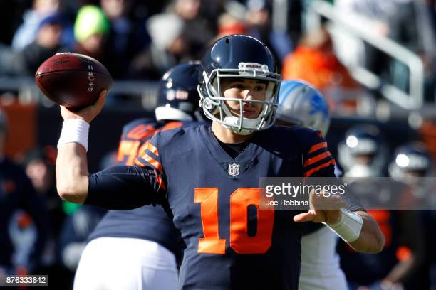 Quarterback Mitch Trubisky of the Chicago Bears looks to pass the football in the first quarter against the Detroit Lions at Soldier Field on...
