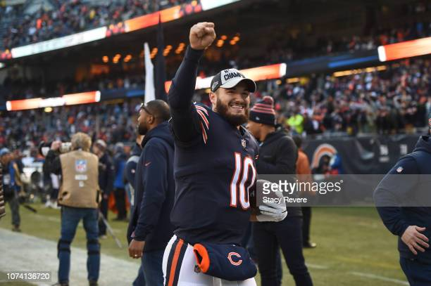 Quarterback Mitchell Trubisky of the Chicago Bears celebrates after the Bears defeated the Green Bay Packers 2417 at Soldier Field on December 16...