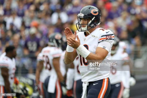 Quarterback Mitchell Trubisky of the Chicago Bears celebrates after field goal in the second quarter against the Baltimore Ravens at MT Bank Stadium...