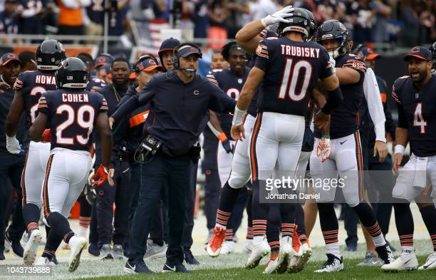 Quarterback Mitchell Trubisky of the Chicago Bears celebrates next to head coach Matt Nagy in the first quarter against the Tampa Bay Buccaneers at...
