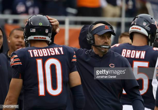 Quarterback Mitchell Trubisky of the Chicago Bears celebrates with head coach Matt Nagy in the first quarter against the Tampa Bay Buccaneers at...