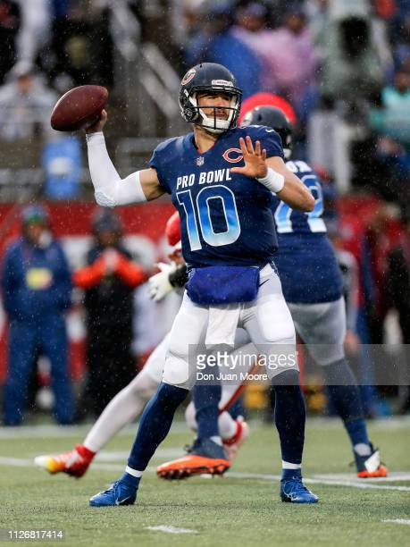 Quarterback Mitchell Trubisky of the Chicago Bears from the NFC Team on a pass play during the NFL Pro Bowl Game at Camping World Stadium on January...