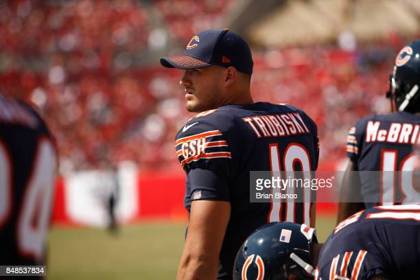 Quarterback Mitchell Trubisky of the Chicago Bears looks on from the sidelines during the fourth quarter of an NFL football game against the Tampa...