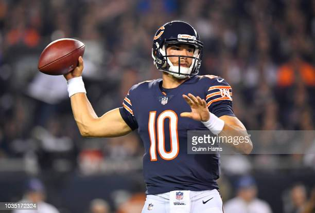 Quarterback Mitchell Trubisky of the Chicago Bears looks to pass in the first half against the Seattle Seahawks at Soldier Field on September 17 2018...