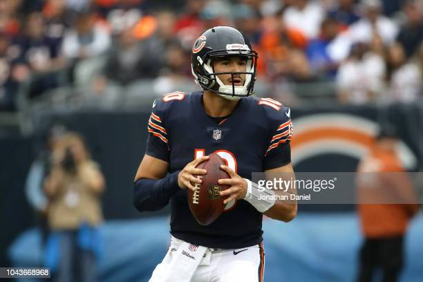 Quarterback Mitchell Trubisky of the Chicago Bears looks to pass in the first quarter against the Tampa Bay Buccaneers at Soldier Field on September...