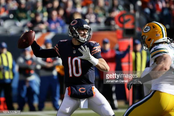 Quarterback Mitchell Trubisky of the Chicago Bears looks to pass in the first quarter against the Green Bay Packers at Soldier Field on December 16...