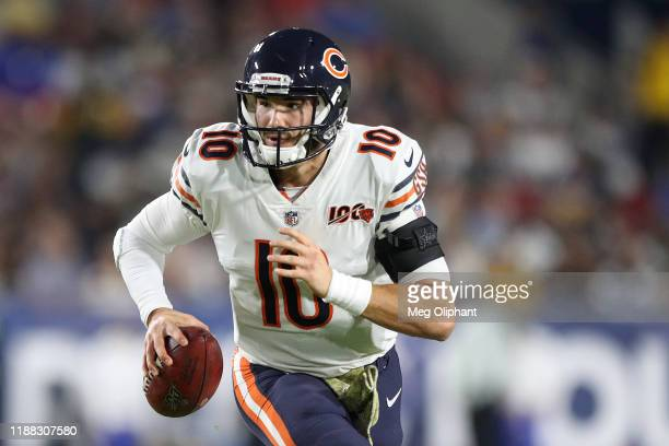 Quarterback Mitchell Trubisky of the Chicago Bears looks to pass in the first half against the Los Angeles Rams at Los Angeles Memorial Coliseum on...