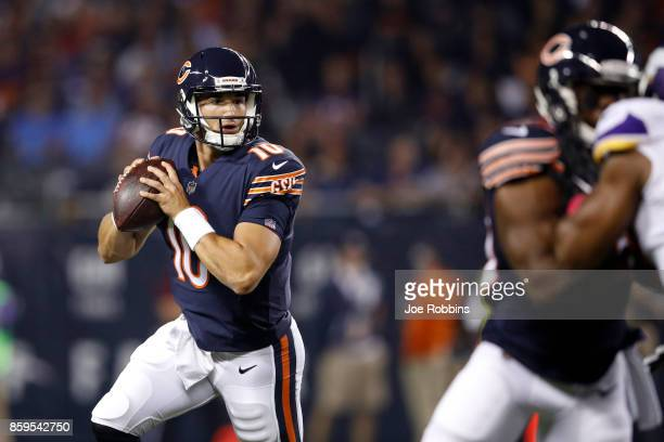 Quarterback Mitchell Trubisky of the Chicago Bears looks to pass the football in the first quarter against the Minnesota Vikings at Soldier Field on...