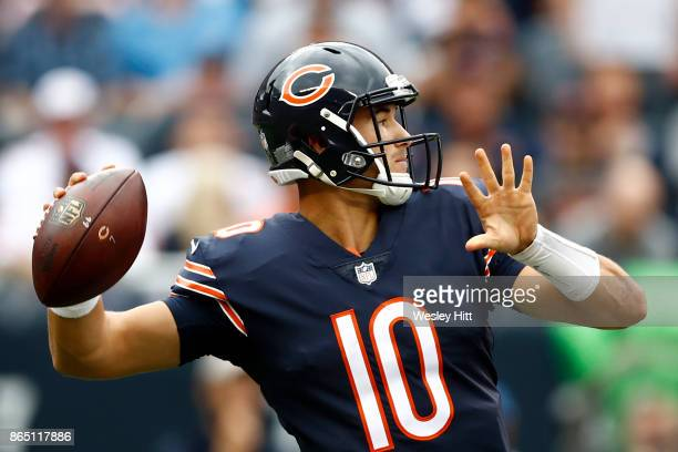 Quarterback Mitchell Trubisky of the Chicago Bears looks to pass the football in the second quarter against the Carolina Panthers at Soldier Field on...