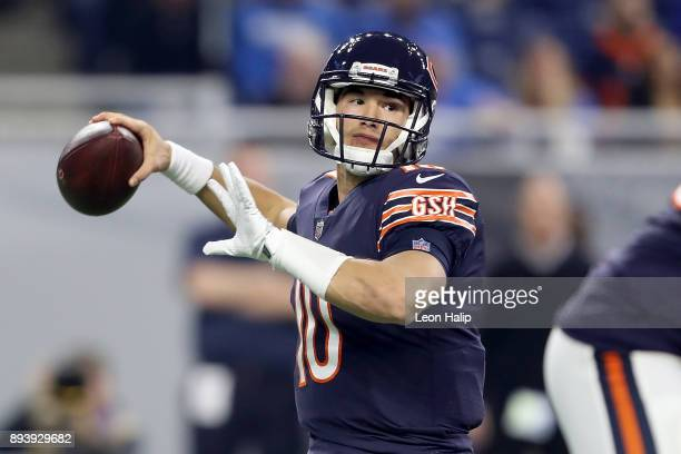 Quarterback Mitchell Trubisky of the Chicago Bears looks to pass the ball against the Detroit Lions during the first quarter at Ford Field on...