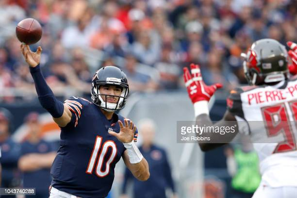Quarterback Mitchell Trubisky of the Chicago Bears passes the football against the Tampa Bay Buccaneers in the first quarter at Soldier Field on...