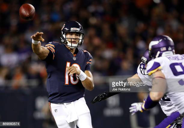 Quarterback Mitchell Trubisky of the Chicago Bears passes the football against the Minnesota Vikings in the first quarter at Soldier Field on October...
