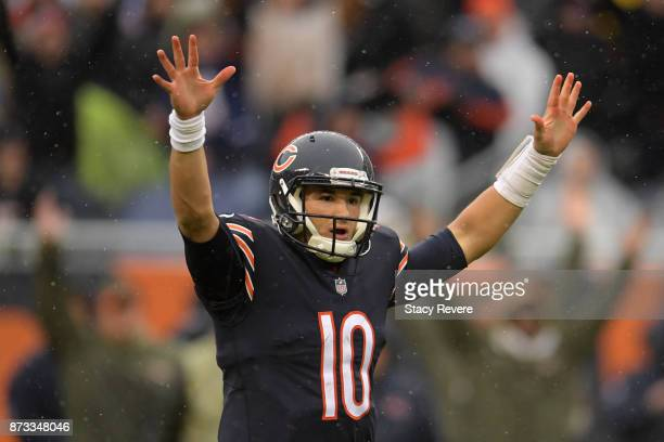 Quarterback Mitchell Trubisky of the Chicago Bears reacts on the field in the second quarter against the Green Bay Packers at Soldier Field on...