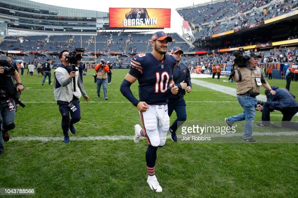 Quarterback Mitchell Trubisky of the Chicago Bears runs off of the field after defeating the Tampa Bay Buccaneers 4810 at Soldier Field on September...