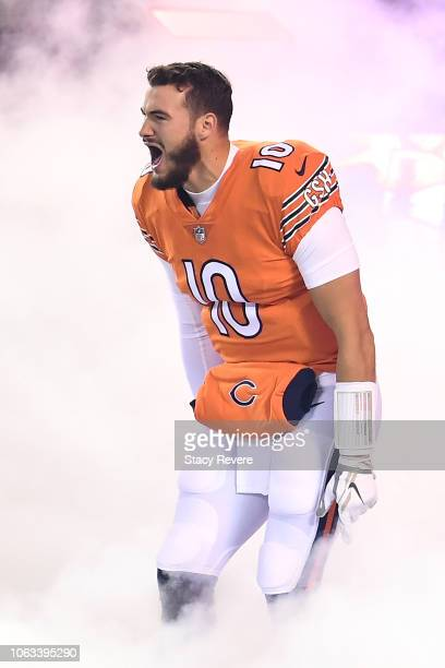 Quarterback Mitchell Trubisky of the Chicago Bears runs out to the field prior to the game against the Minnesota Vikings at Soldier Field on November...