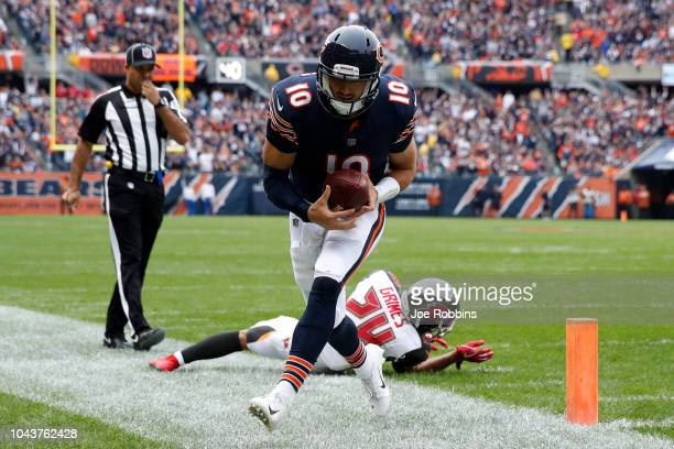 Quarterback Mitchell Trubisky of the Chicago Bears runs the football just short of the goal line in the second quarter against the Tampa Bay...