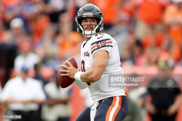 Quarterback Mitchell Trubisky of the Chicago Bears throws in the second quarter against the Denver Broncos at Empower Field at Mile High on September...