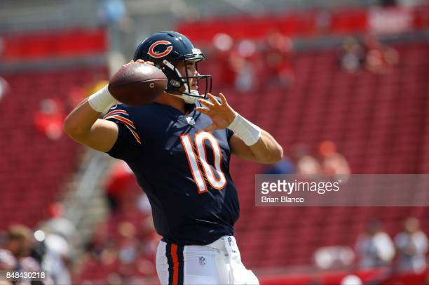 Quarterback Mitchell Trubisky of the Chicago Bears warms up before the start of an NFL football game against the Tampa Bay Buccaneers on September 17...