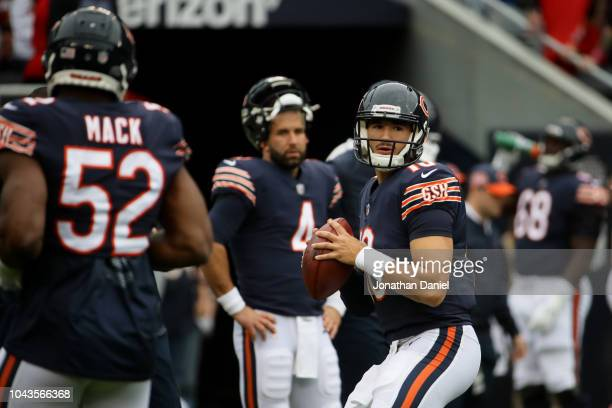 Quarterback Mitchell Trubisky of the Chicago Bears warms up prior to the game against the Tampa Bay Buccaneers at Soldier Field on September 30 2018...