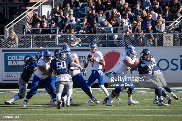 Quarterback Montel Aaron of the San Jose State Spartans looks for a receiver during the game against the Nevada Wolf Pack at Mackay Stadium on...