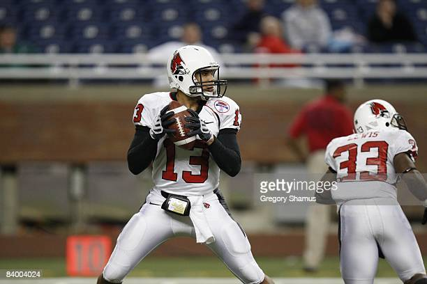 Quarterback Nate Davis of the Ball State Cardinals looks to pass against the Buffalo Bulls during the MAC Championship game on December 5 2008 at...