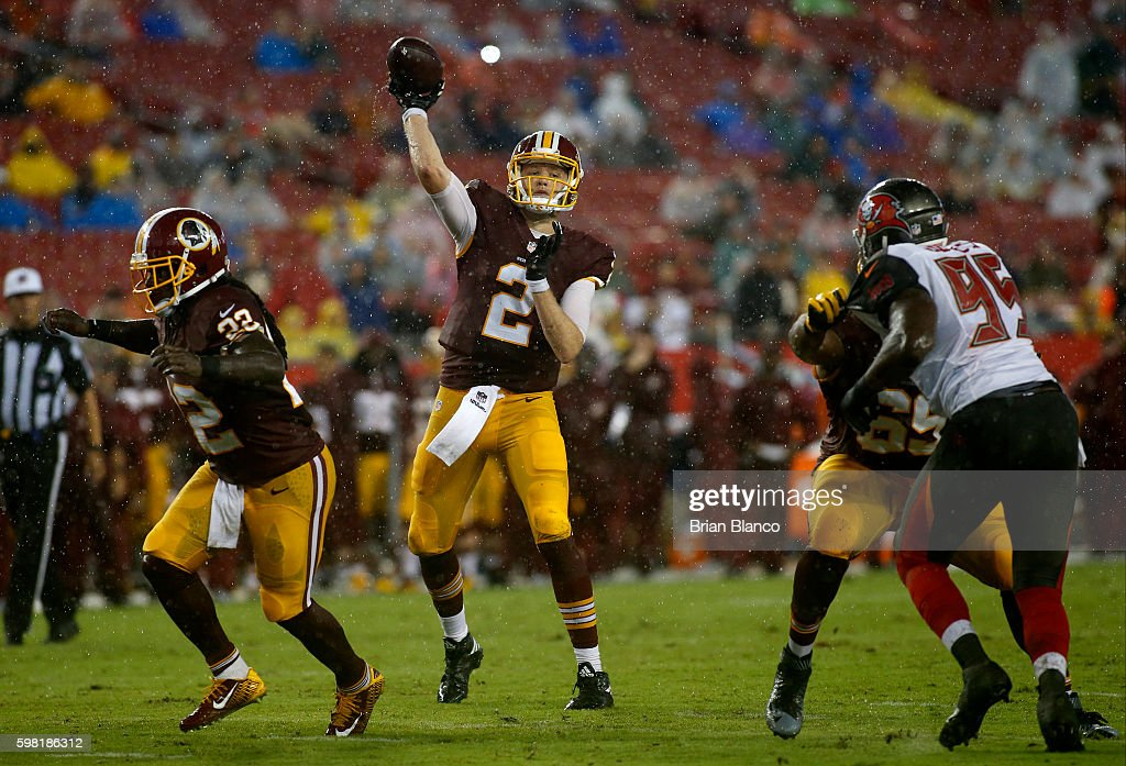 Quarterback Nate Sudfeld #2 of the Washington Redskins throws to an open receiver during the second quarter of an NFL game against the Tampa Bay Buccaneers on August 31, 2016 at Raymond James Stadium in Tampa, Florida.