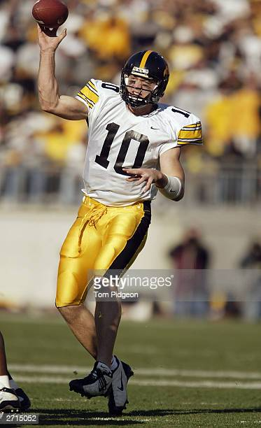 Quarterback Nathan Chandler of the Iowa Hawkeyes passes the football downfield during the game against the Ohio State Buckeyes at Ohio Stadium on...