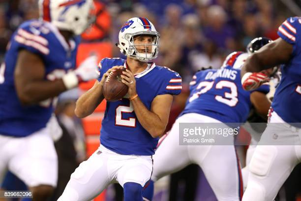 Quarterback Nathan Peterman of the Buffalo Bills looks to pass against the Baltimore Ravens in the first half during a preseason game at MT Bank...