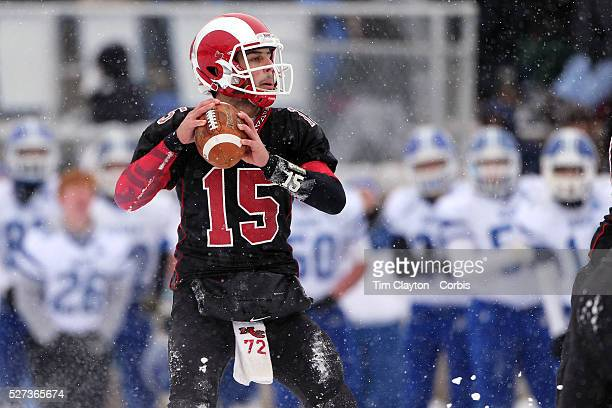 Quarterback Nick Cascione New Canaan in action during the New Canaan Rams Vs Darien Blue Wave CIAC Football Championship Class L Final at Boyle...