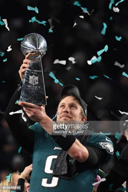 Quarterback Nick Foles of the Philadelphia Eagles celebrates following victory over the New England Patriots in Super Bowl LII at US Bank Stadium in...