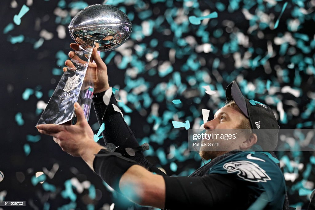 Quarterback Nick Foles #9 of the Philadelphia Eagles raises the Vince Lombardi Trophy after defeating the New England Patriots, 41-33, in Super Bowl LII at U.S. Bank Stadium on February 4, 2018 in Minneapolis, Minnesota.