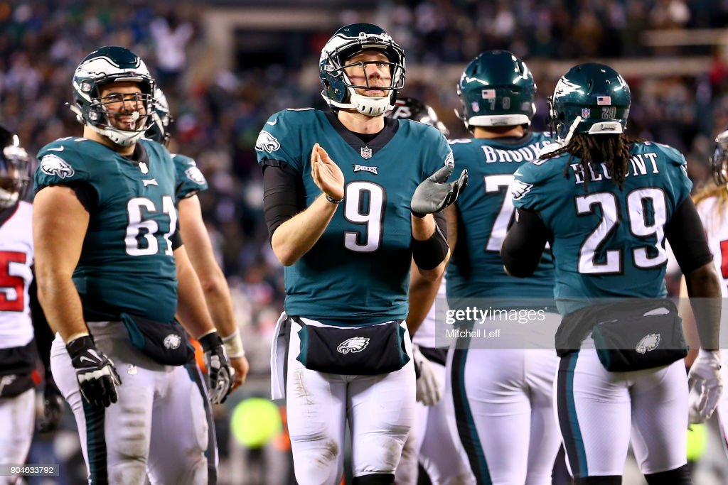 Quarterback Nick Foles #9 of the Philadelphia Eagles reacts to their 15-10 win over the Atlanta Falcons in the NFC Divisional Playoff game at Lincoln Financial Field on January 13, 2018 in Philadelphia, Pennsylvania.