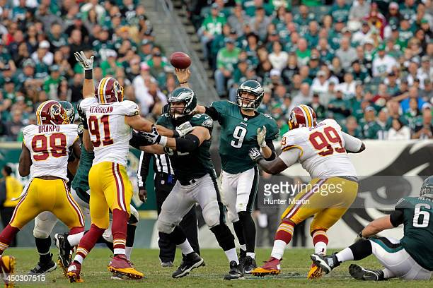 Quarterback Nick Foles of the Philadelphia Eagles throws a pass during a game against the Washington Redskins on November 17 2013 at Lincoln...