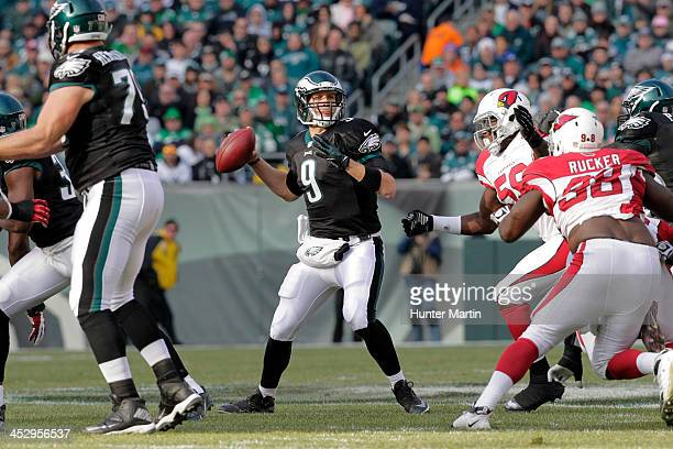 Quarterback Nick Foles of the Philadelphia Eagles throws a pass during a game against the Arizona Cardinals on December 1 2013 at Lincoln Financial...