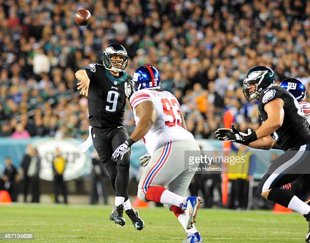 Quarterback Nick Foles of the Philadelphia Eagles throws a pass during a football game against the New York Giants at Lincoln Financial Field on...