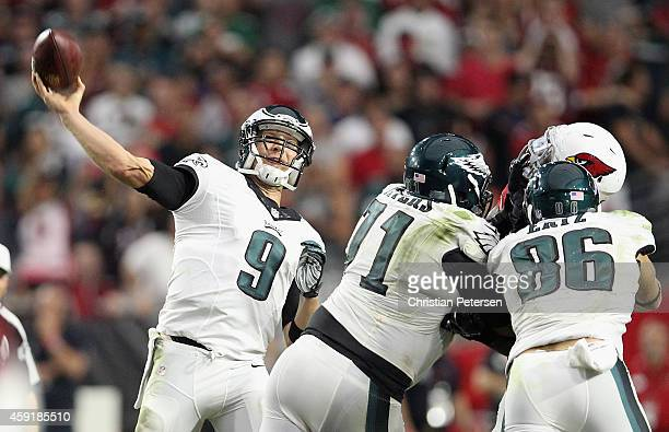 Quarterback Nick Foles of the Philadelphia Eagles throws a pass during the NFL game against the Arizona Cardinals at the University of Phoenix...